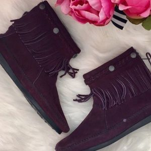 Minnetonka purple suede tassel booties